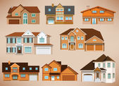 City houses (retro colors) — Stock Vector