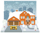 Family house in winter (diorama) — Stock Vector