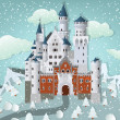 Fairytale castle in winter — Stock Vector