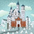 Fairytale castle in winter — Stock Vector #42337413