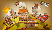 Cartoon stad (herfst) — Stockvector