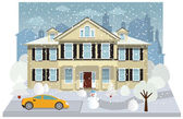Family house in winter — Stock Vector