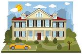 Family house (diorama) — Stock Vector