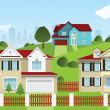 Life in the suburbs — Stock Vector #42597049