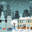 City life (Winter) — Stock Vector
