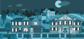 Life in the suburb (night) — Stock Vector