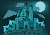 Fairytale castle in the night — Stock Vector