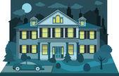 Einfamilienhaus in der nacht (diorama) — Stockvektor