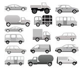 Cars collection (black & white) — Stock Vector