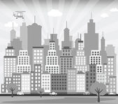 City background (black & white) — Stock Vector