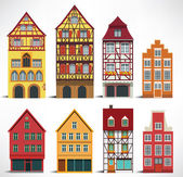 Classic European houses — Vector de stock