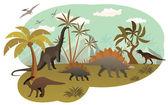World of dinosaurs — Stock Vector