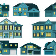 City houses (night) — Stock Vector #46654659