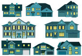 City houses (night) — Stock Vector