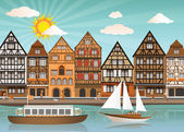 Old town and river — Stock Vector