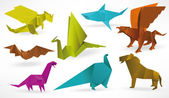 Origami animals — Vettoriale Stock