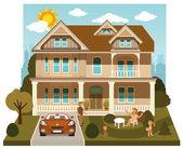 семейный дом (диорама) — Cтоковый вектор