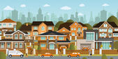 Life in the suburbs — Stock Vector