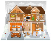 Inside the house (Winter) — Stock Vector