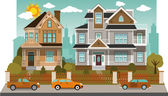 Family houses (diorama) — Stock Vector