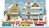 Family houses in winter (diorama) — Stock Vector