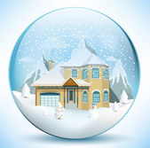 Christmas sphere with house — Stock Vector