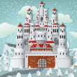 Fairytale castle in winter — Stock Vector #51340329