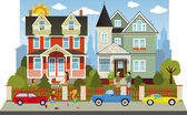 Victorian family houses — Stock Vector