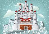 Bajkowy zamek w zimie — Wektor stockowy