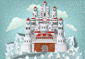 Fairytale castle in winter — Stock Vector