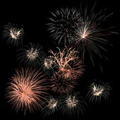 Colorful fireworks on the black sky background — Stock Photo