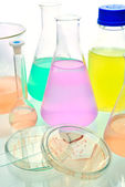 Volumetric laboratory glassware containing colored liquids — Stock Photo
