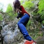 Girl taking nature photos — Stock Photo