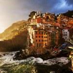 Sunset light over Riomaggiore Village, Cinque Terre, Italy — Stock Photo #25751393