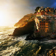 Sunset light in Riomaggiore — Stok fotoğraf