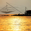 Fishing nets in sunset light — Stock Photo