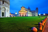 Piazza dei miracoli, with the Basilica and the Leaning Tower, Pisa, Italy — Stock Photo
