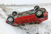 Car accident in winter conditions — Stock Photo
