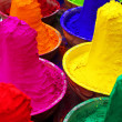 Colorful tika powders in a market of India , Asia — Stock Photo