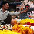 Stock Photo: Flower market of India