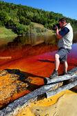 Hombre fotografiando la naturaleza — Foto de Stock