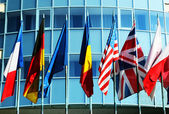 Corporate building with different world flags — Stock Photo