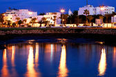 Islamic architecture by night Asilah old medina, Morocco, Africa — Stock Photo
