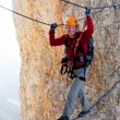 Alpinist on Koenigsjodler route, Austria — Stock Photo