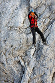 Climbing alpinist on Koenigsjodler route, Austria — Stock Photo