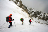 Winter trekking in the mountains — Stock Photo
