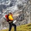 Stock Photo: Alpinist contemplating Eiger Peak, Switzerland