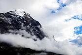 Mittelegi Ridge in stormy clouds, Eiger Peak (3970m), Switzerland — Stock Photo