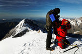 Team of alpinists on Monch Peak (4107m), Berner Oberland, Switzerland - UNESCO Heritage — Stock Photo
