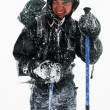 Alpinist facing a harsh blizzard — Stock Photo
